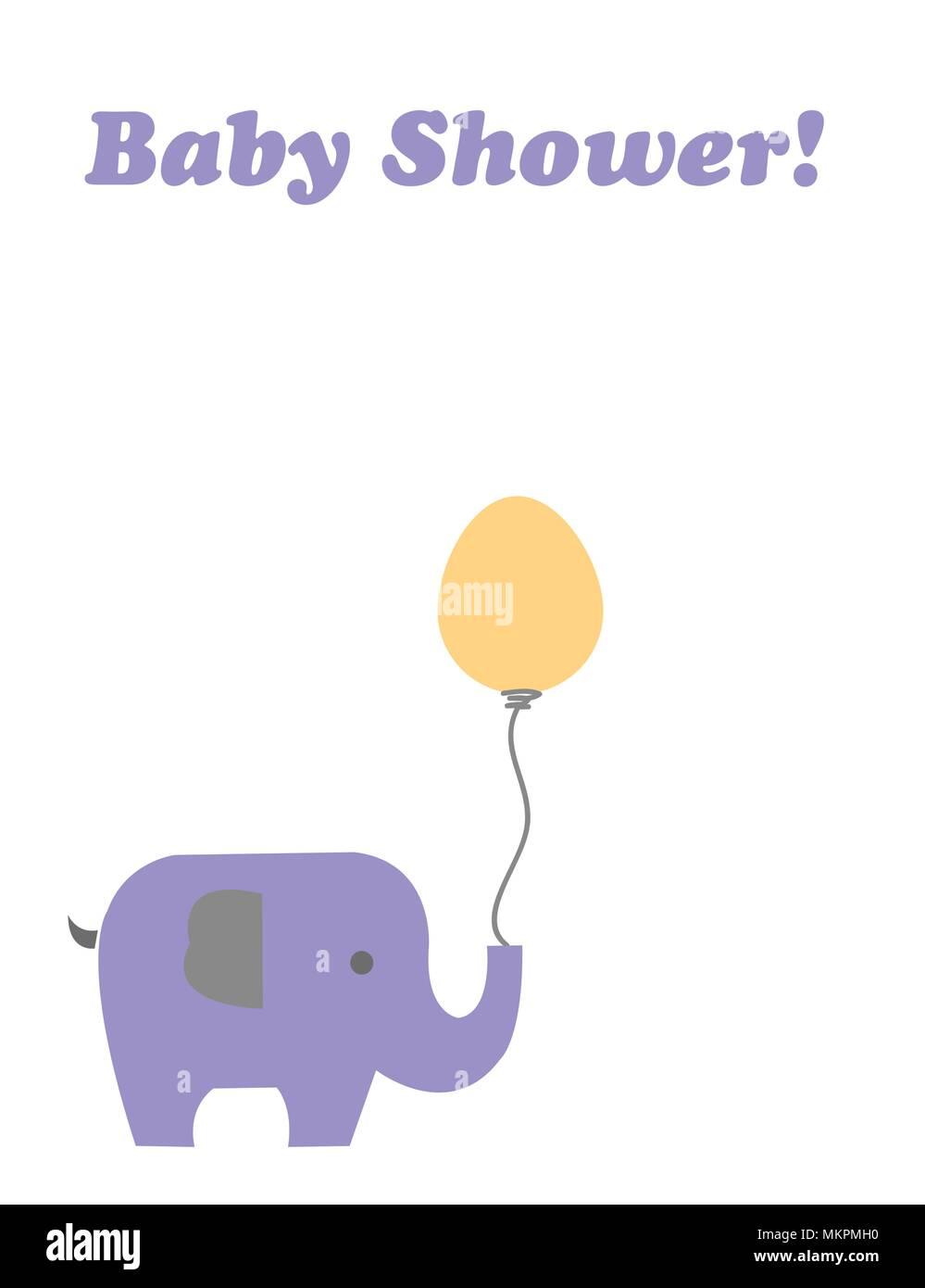 Carte de douche de bébé avec elephant cartoon holding un ballon Illustration de Vecteur