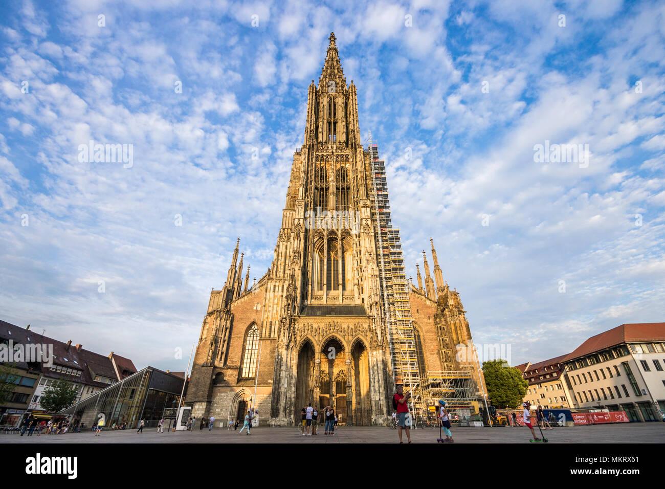 Ulm, Allemagne. L'Ulm (Ulmer Münster), un temple luthérien et plus grande église dans le monde Banque D'Images