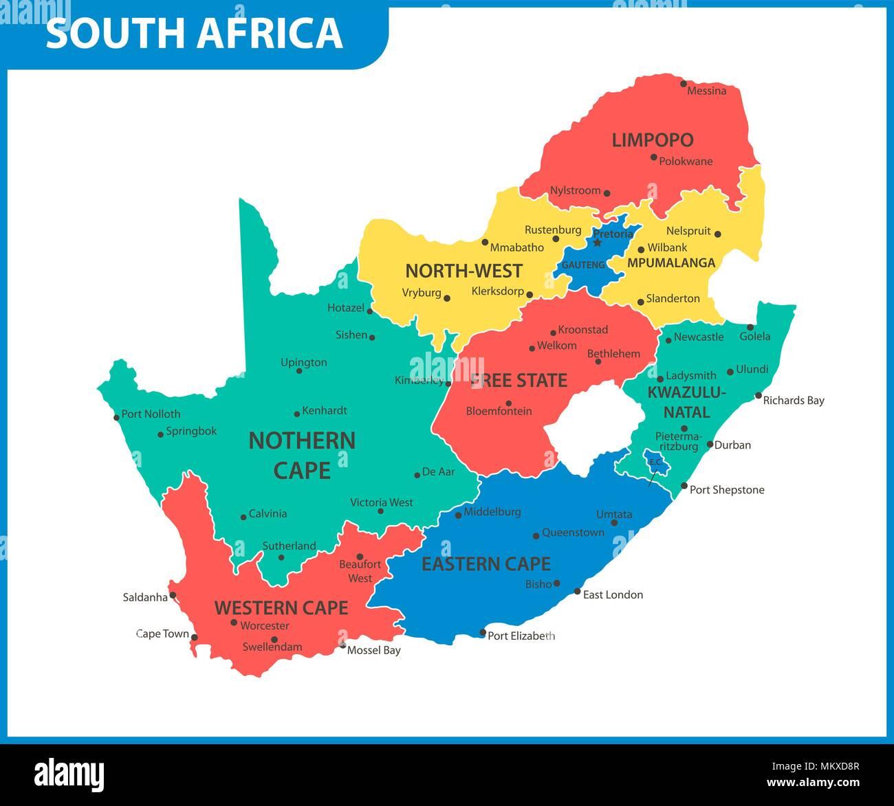 Carte De Lafrique Du Sud Avec Les Villes.La Carte Detaillee De L Afrique Du Sud Avec Les Regions Ou