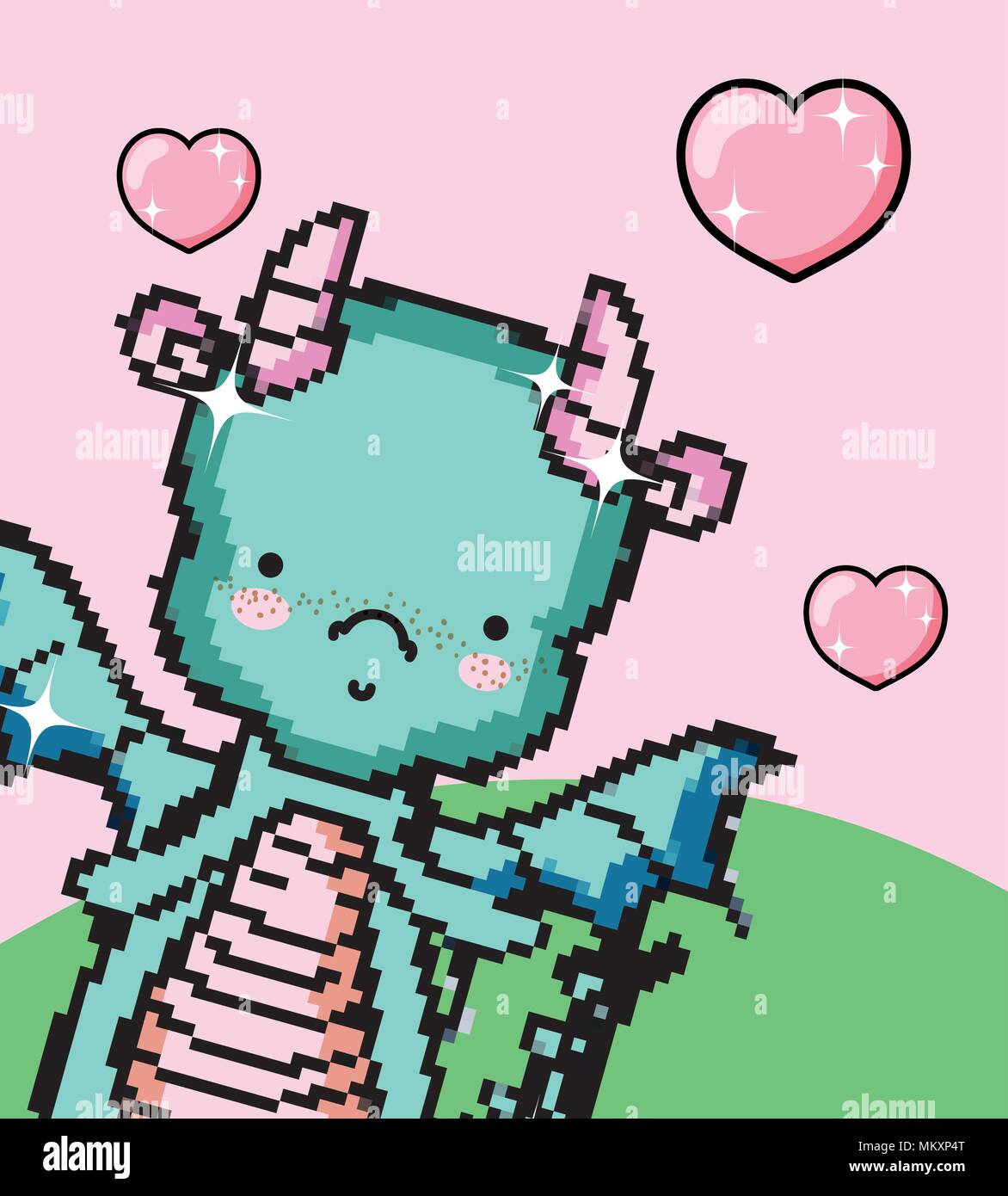 Pixel Art Dragon Mignon Vecteurs Et Illustration Image