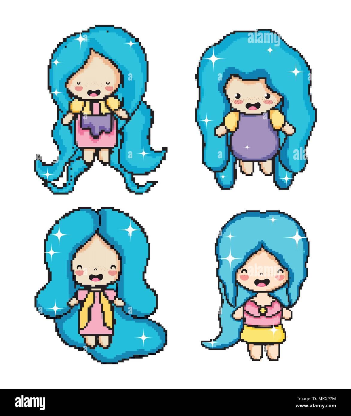 Pixel Art Cute Girl Vecteurs Et Illustration Image