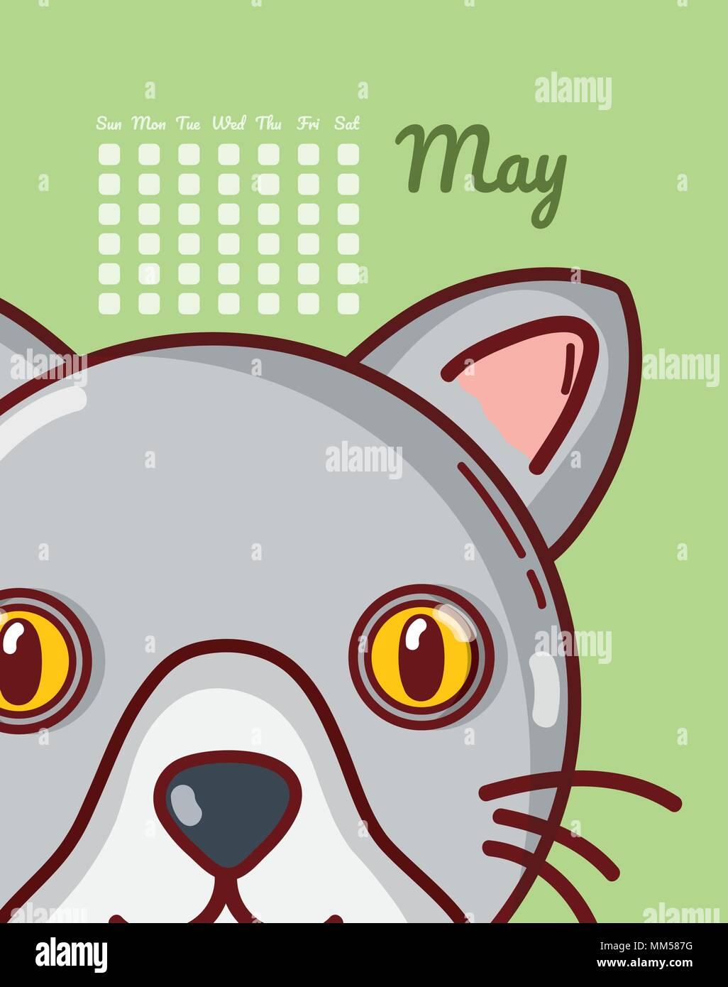 Calendrier Dessin Anime.Cat Et Calendrier Concept Dessin Anime Vecteurs Et