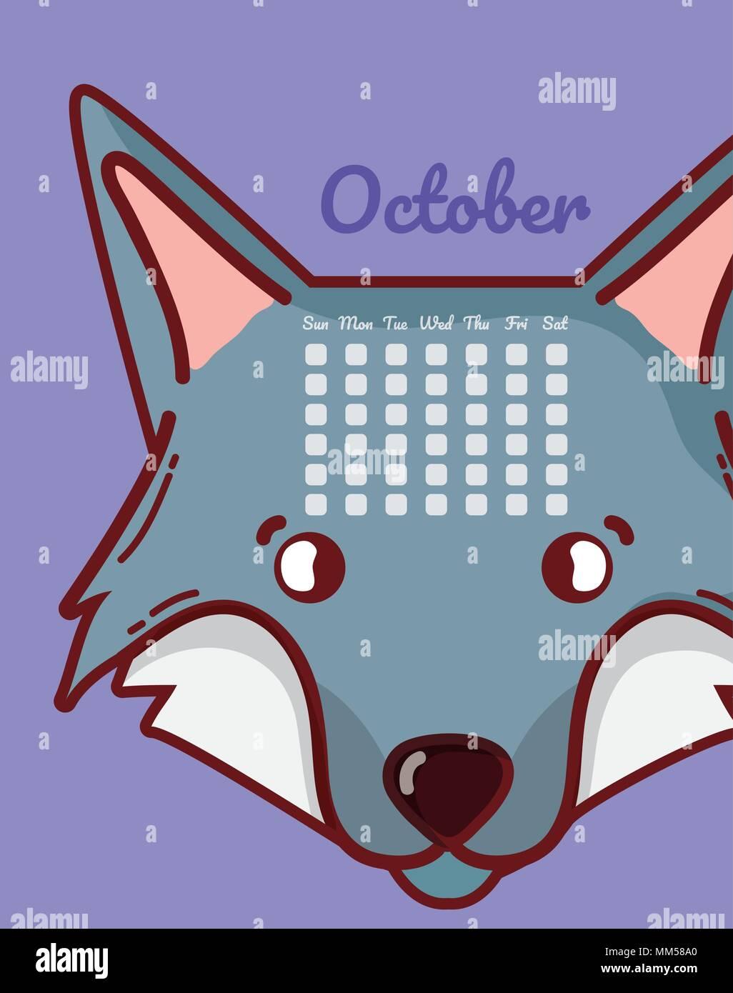 Calendrier Dessin Anime.Wolf Et Calendrier Concept Dessin Anime Vecteurs Et