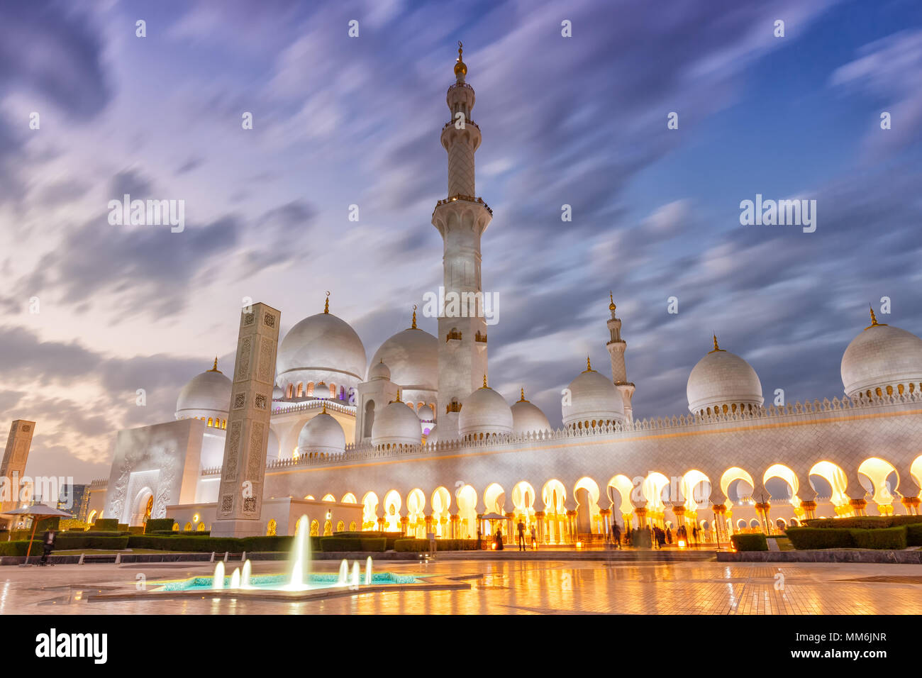 Abu Dhabi Sheikh Zayed Mosque minaret crépuscule Emirats Arabes Unis ÉMIRATS ARABES UNIS Photo Stock