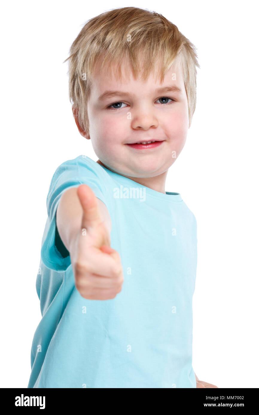 Kid enfant jeune petit garçon succès Thumbs up isolé sur fond blanc Photo Stock