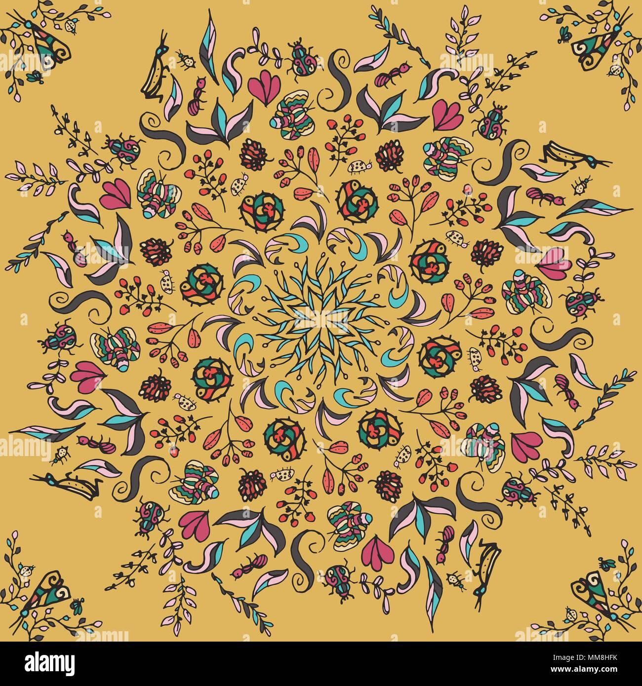 Riche avec des couleurs saturées, magnifique cité médiévale l'ornement. Motif floral Seamless floral circulaire d'éléments. Vector design de mandalas. Modèle pour les textiles, châle, linge de lit, tapis, coussins Illustration de Vecteur