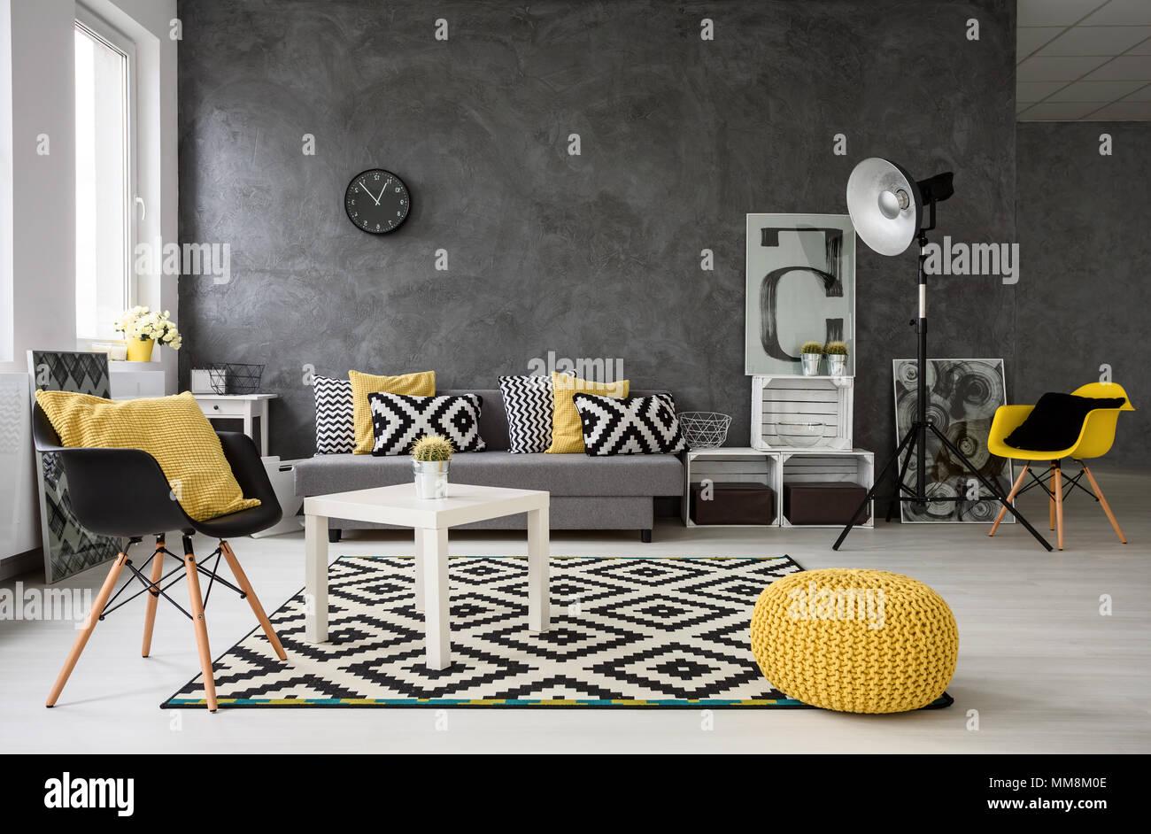 Gris spacieux, salon avec canapé, chaises, lampe, petite table basse ...