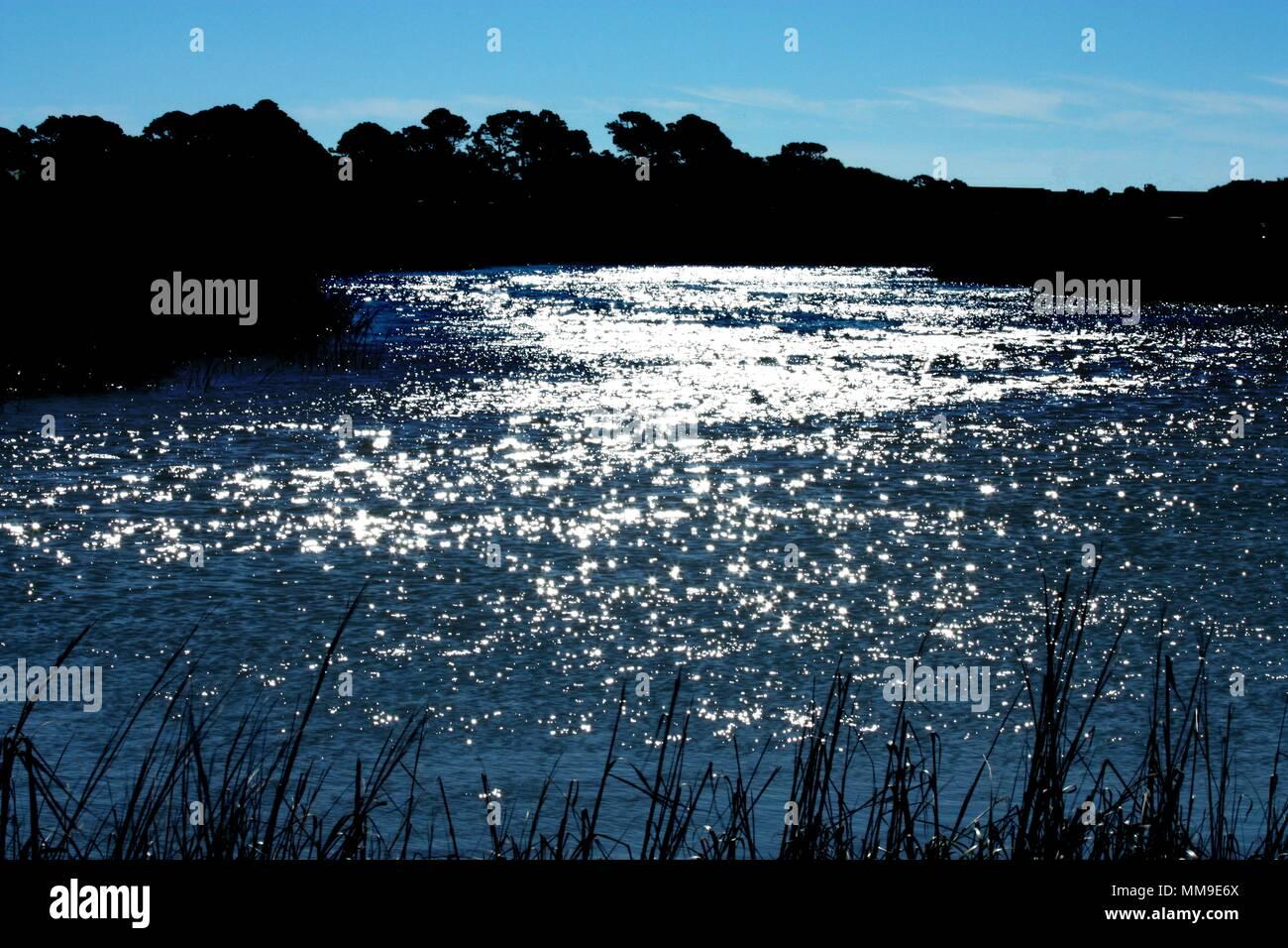 Edisto River en Caroline du Sud de la zone côtière sur Fripp Island Photo Stock