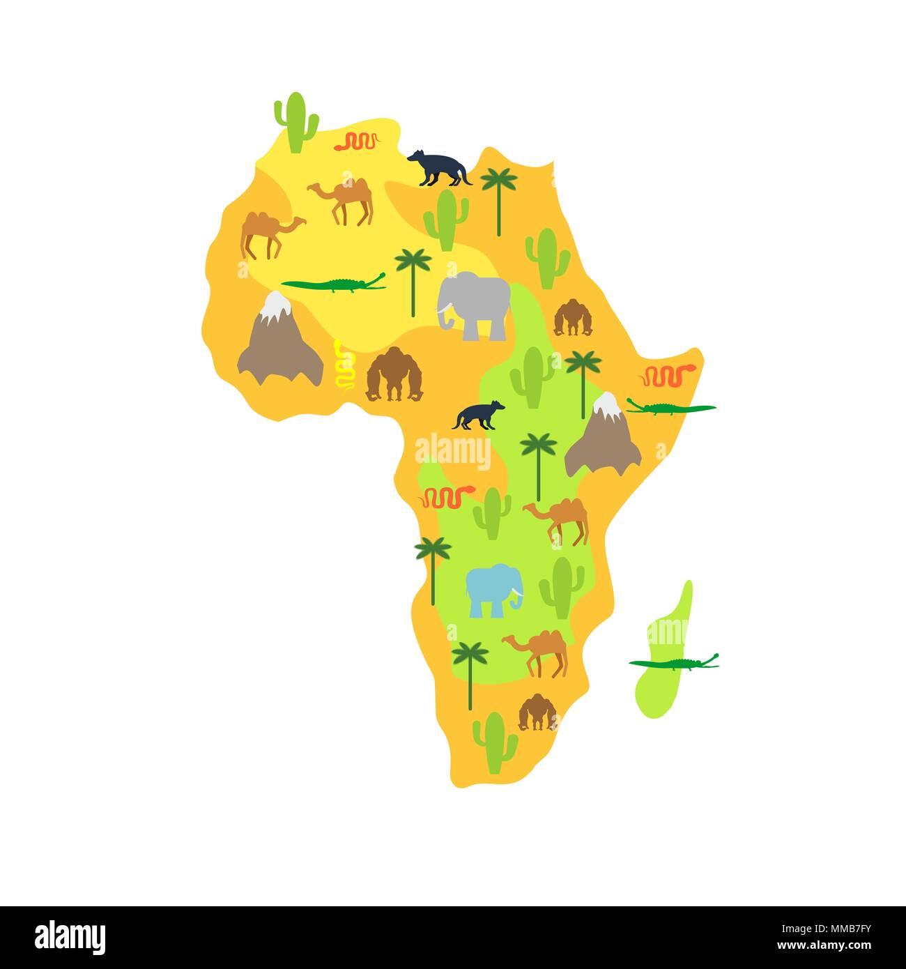 Carte Afrique Vectorielle.Carte Afrique Animal La Flore Et La Faune Vector