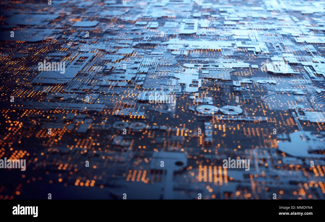 3D illustration. Abstract structure 3D pour l'utiliser comme arrière-plan à thème technologique. Photo Stock
