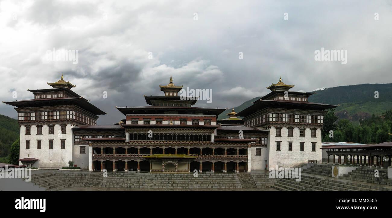 Vue extérieure à Tashichho dzong 24-05-2011 Thimphu, Bhoutan Photo Stock