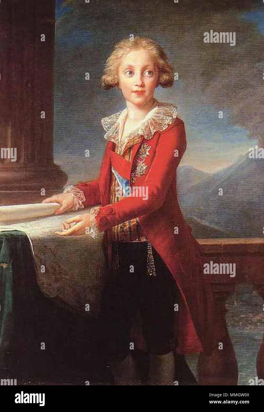 . Francesco di Borbone (1777-1830) était le fils de Ferdinand IV, roi de Naples et de la reine Marie Caroline d'Autriche, sœur de Marie-Antoinette. Francesco est devenu roi de Naples en 1825. Sa fille aînée était le firey Duchesse de Berry (1798-1870) peint en 1828. En 1790 à la demande de la Reine, Vigée le Brun a convenu de retarder son départ de Naples afin de peindre le Prince Francesco et ses trois sœurs Maria Theresa (bientôt l'Impératrice d'Autriche), Maria Luisa (plus tard, la grande-duchesse de Toscane) et Maria Christina (plus tard la reine de Sardaigne). Francesco I di Borbone. 1790. Francesco I v Banque D'Images