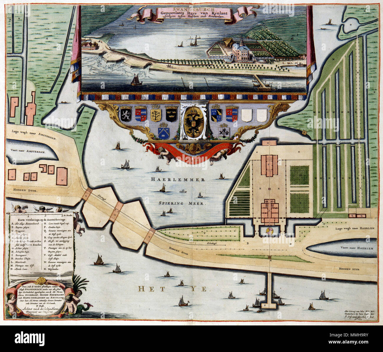 . Nederlands: Het Huis Amsterdam het gemeenlandshuis était van het Hoogheemraadschap van Rijnland te Halfweg. Dans Halfweg een groot sluizencomplex lag dat door het Hoogheemraadschap werd beheerd. Werd Het Huis tussen 1644 en 1648 naar een ontwerp van de l'architecte Pieter Post gebouwd langs de pas voltooide trekvaart tussen Amsterdam en Haarlem. Het Huis était de vaste woonplaats van de opzichter van Rijnland Halfweg een te veel brique vergader- en verblijfplaats van de hoogheemraden van Rijnland.; Centraal op de kaart een groot aangezicht Het Huis van Zwanenberg. Rechtsonder Korte verklaring Photo Stock