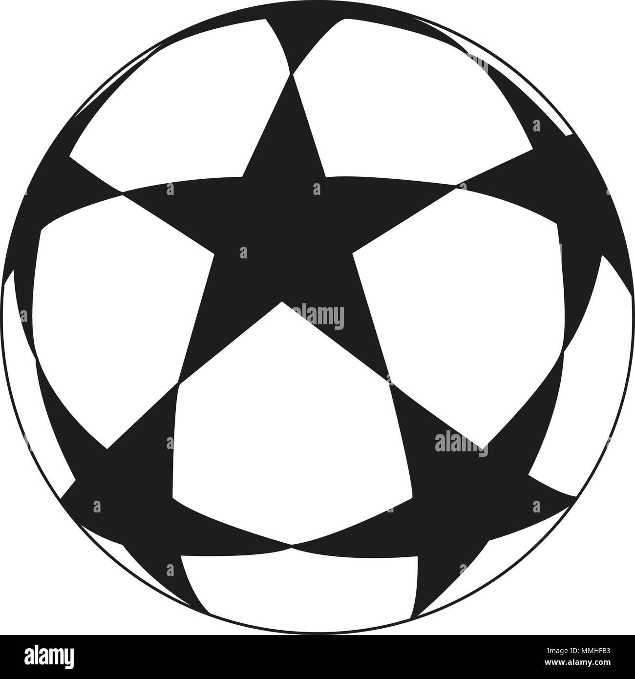 Les Dessins Au Trait Noir Et Blanc Ballon De Soccer Star Vecteurs Et