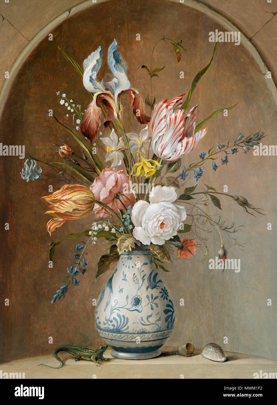 . Blumenstillleben, Öl auf Holz, 63 x 48 cm . 17e siècle. Anonyme, cercle de Balthasar van der Ast (ch. 1594-1657) et Johannes Baers Flower still life (cercle de van der Ast - Baers) Banque D'Images