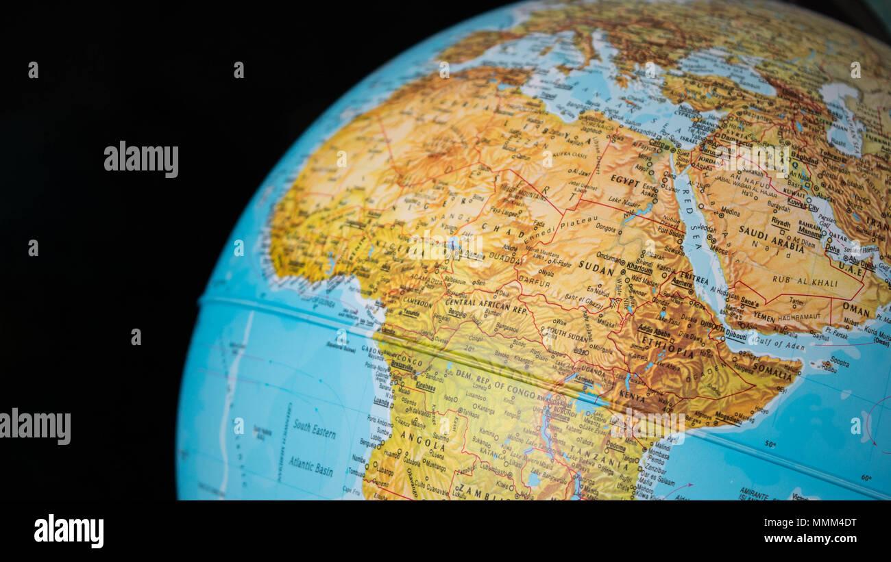 Carte De Lafrique Et Moyen Orient.L Afrique Et Moyen Orient Carte Sur Un Globe Avec Un Fond Noir