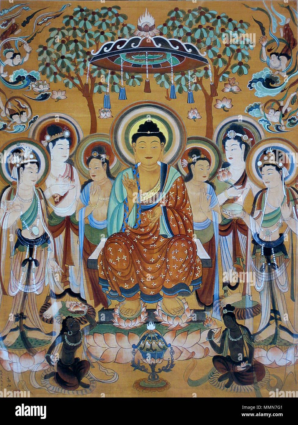 Anglais Cave Peinture Murale Du Bouddha Entouré Par Les
