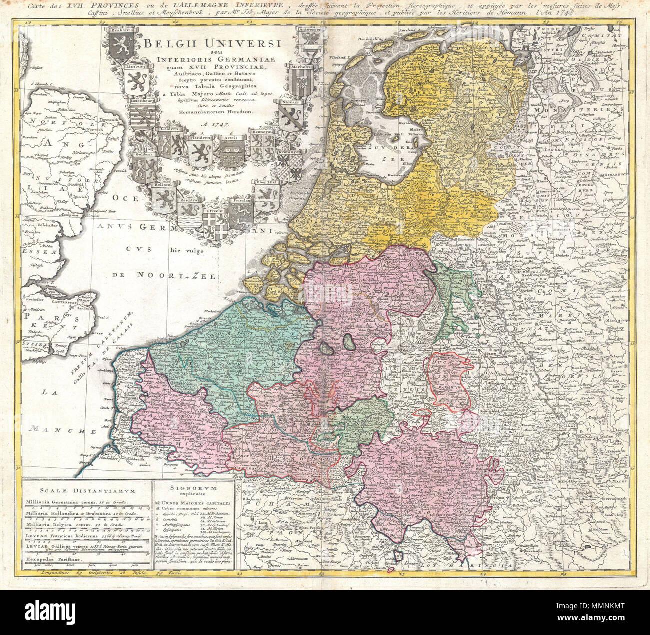 Carte Angleterre Pays Bas.Anglais Une Belle Carte Detaillee 1747 Homann Heritiers