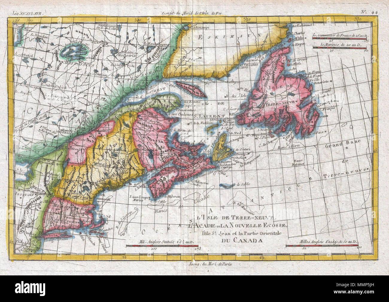 Carte Usa Canada Cote Est.Anglais Un Bel Exemple De Rigobert Bonne Et Guilleme Raynal S 1780