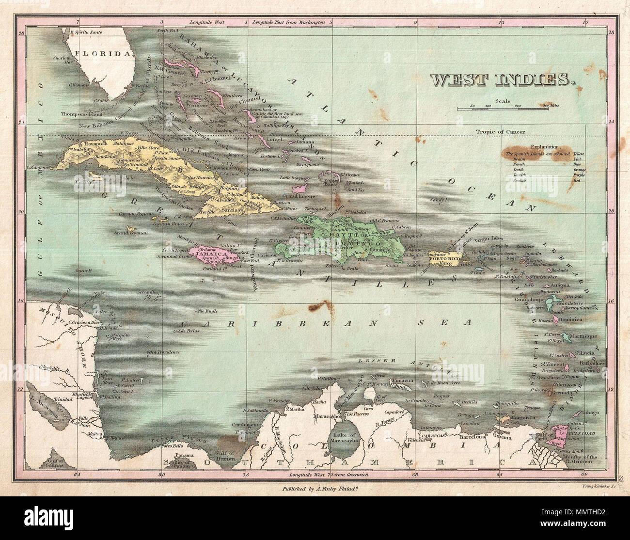. Anglais: c'est souhaitable de Finley 1827 site des Antilles et des Caraïbes. Montre la plus grande et Petites Antilles, ainsi que les Bahamas et des parties de l'espagnol. Les îles sont des codes de couleur en fonction de leurs prestataires européens. Présente les villes, des forts, des baies, des rivières, des routes, et certaines caractéristiques topographiques. Les Bahamas, il Guanaham ou Finley identifie l'île Cat, le premier terrain dans le Nord d'être aperçue par Christophe Colomb. Mille balances et titre en quadrant supérieur droit. Gravée par les jeunes et pour l'édition 1827 Delleker de Anthony Finley's Atlas général . Antilles.. 1827 (sans date). 1827 F Banque D'Images