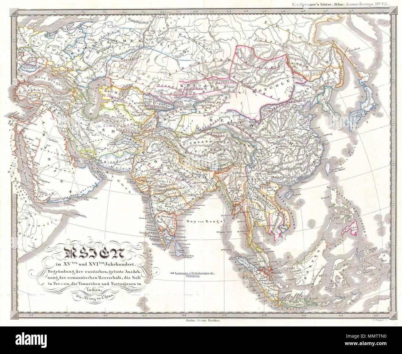 Carte Chine Ming.Anglais Cette Fascinante Colorie A La Main Carte Represente L Asie