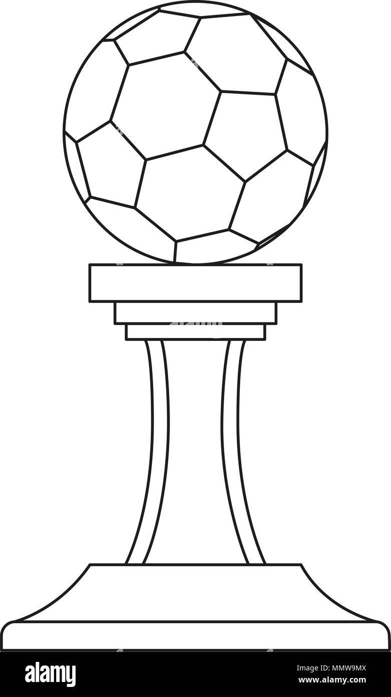 Les Dessins Au Trait Noir Et Blanc Ballon De Soccer Prix Gagnant