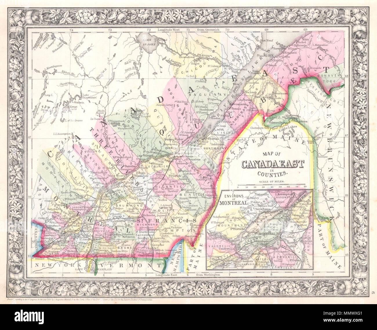 Carte Canada Est Detaillee.Anglais Un Bel Exemple De S A Mitchell Jr S 1864 Carte Du