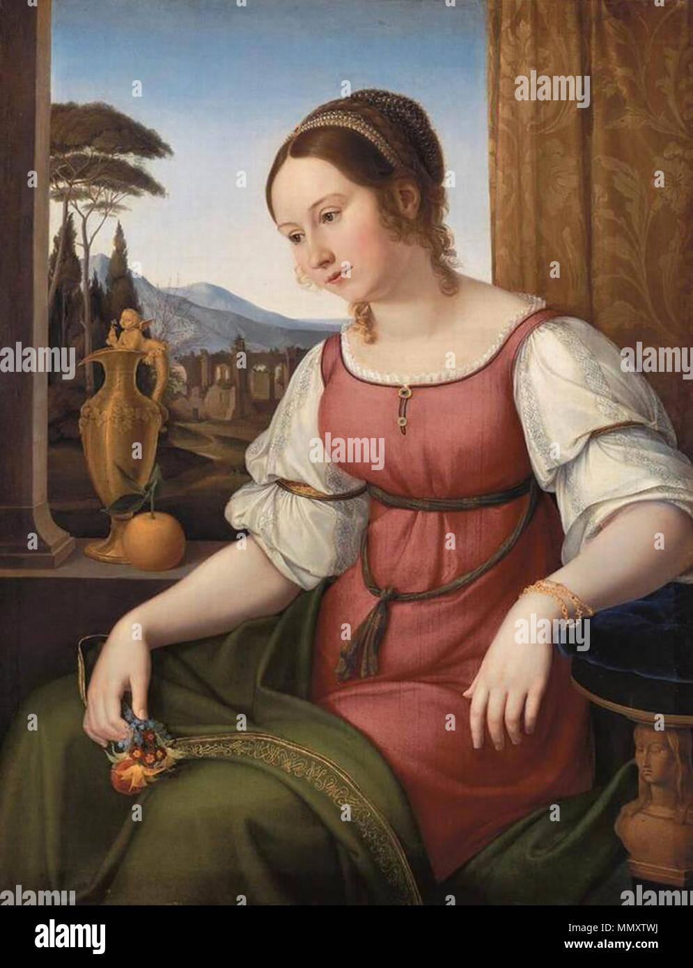 Anglais: Portrait d'une jeune femme romaine (Angelina) Magtti . 1818. Friedrich Wilhelm von Schadow - Portrait d'une jeune femme romaine (Angelina) Magtti - WGA20938 Banque D'Images