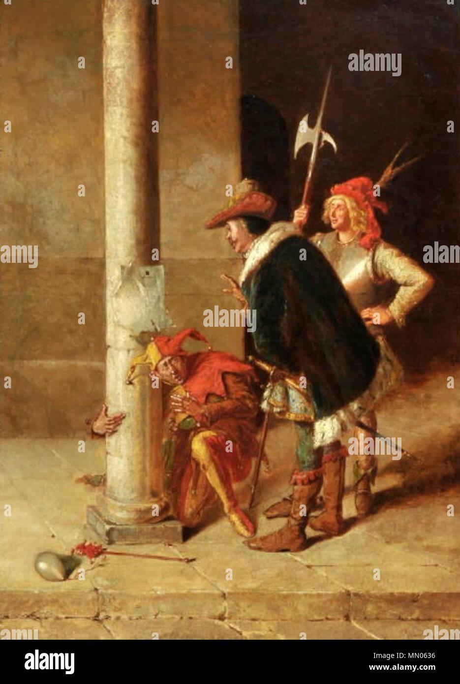 . Voir aus Rigoletto, Öl/Lwd, 63,5 x 48,5 cm, rechts unten signiert . Date inconnue. François Huard (1792-1856) Huard Voir mit Narr Banque D'Images