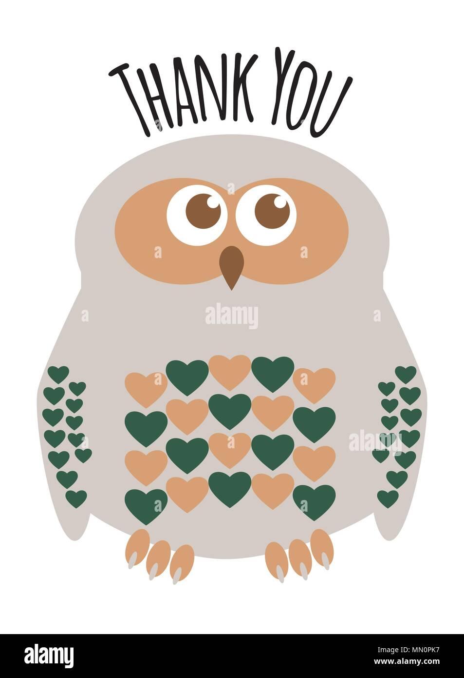 Owl Mignon Petit Personnage Avec Des Coeurs De Carte De