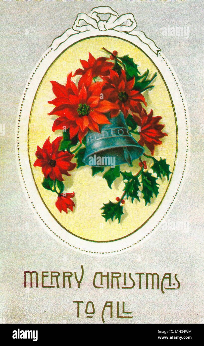 Joyeux Noël à tous - Une carte postale de Noël vintage Photo Stock
