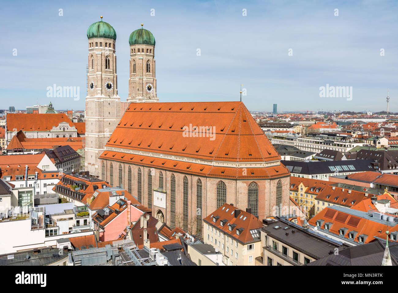 Vue aérienne sur la ville de Munich (Bavière, Allemagne) Photo Stock