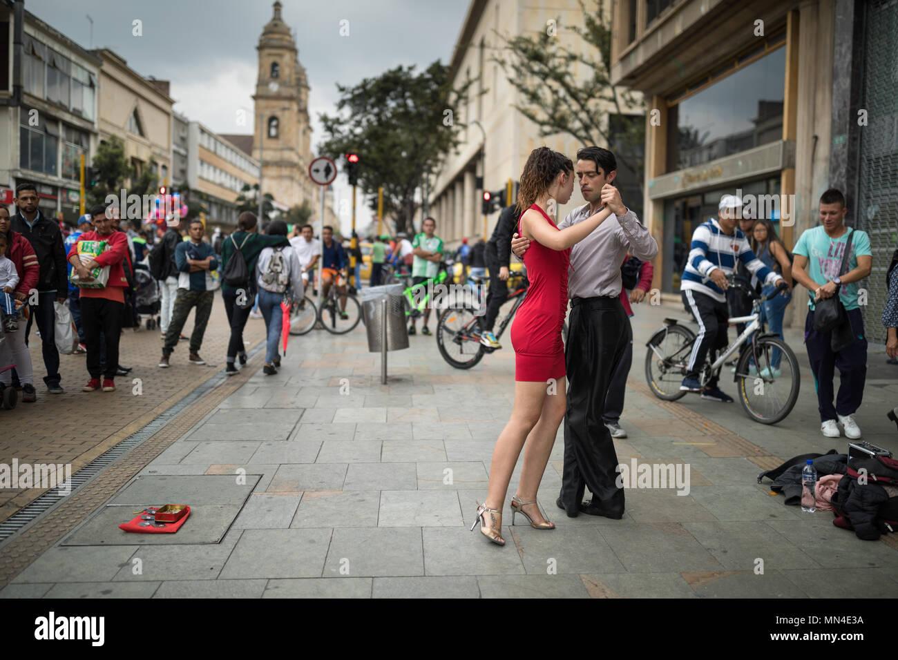 Danse Tango, Carrera 7, Bogota, Colombie, Amérique du Sud Photo Stock