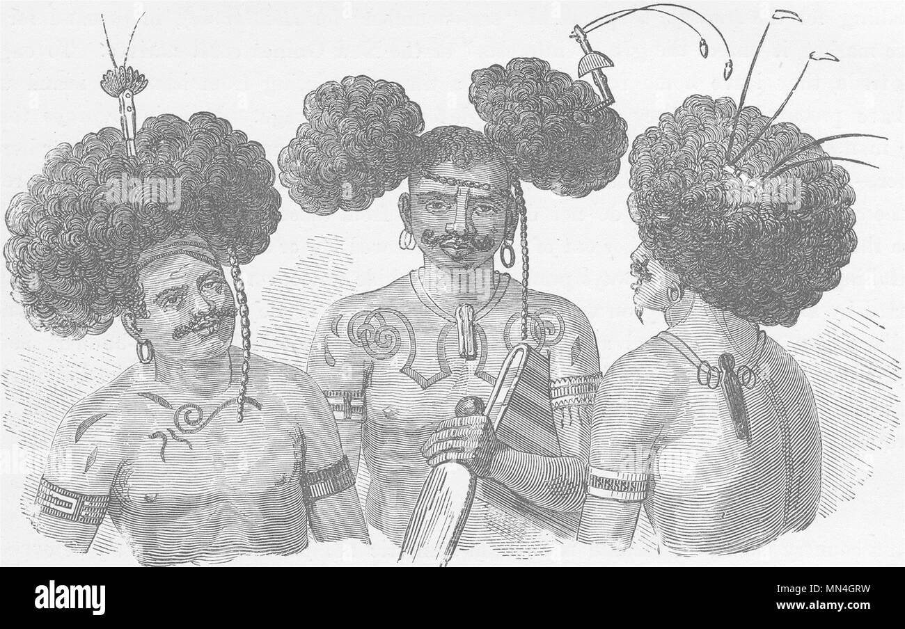 Papouasie-nouvelle-Guinée. Modes de s'habiller les cheveux pratiquée par les habitants 1890 Photo Stock