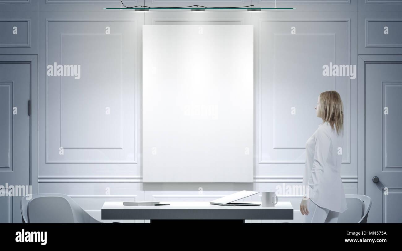 Bureau blanc avec l intérieur de l affiche en blanc maquette