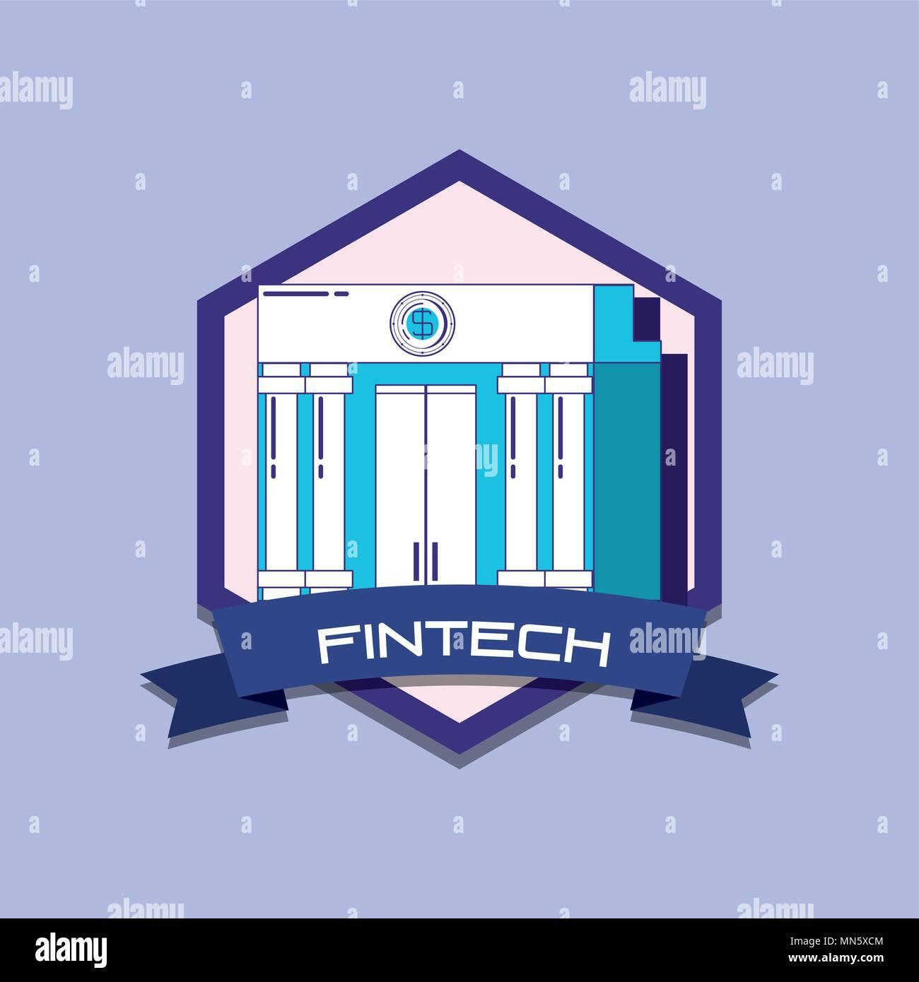 Emblème de fintech concept avec bank building icône sur fond violet, design coloré. vector illustration Illustration de Vecteur