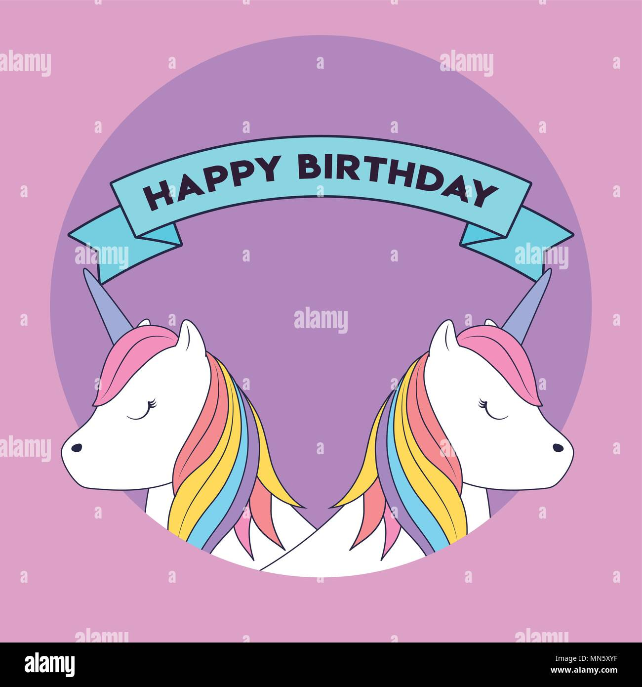 Joyeux anniversaire avec un joli ruban décoratif et l'icône de licorne sur fond violet, design coloré. vector illustration Photo Stock