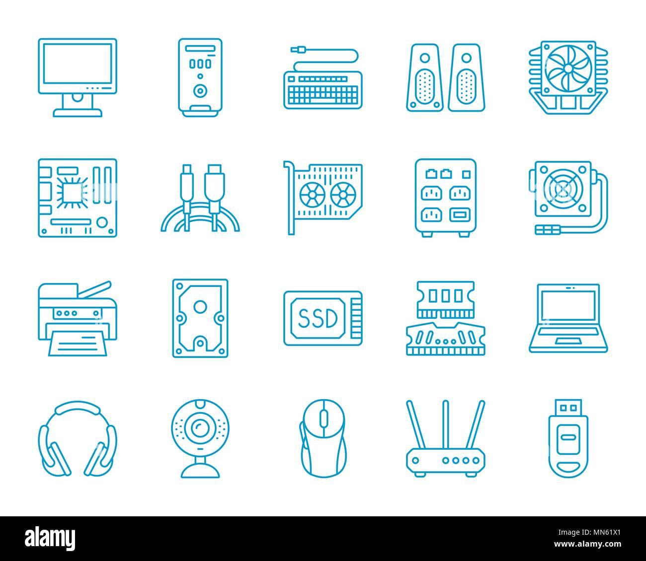 Ordinateur ligne mince icons set. Contours de kit de connexion web monochrome de l'électronique. Ordinateur icône linéaire collection comprend le processeur, disque dur, imprimante. Simple Illustration de Vecteur