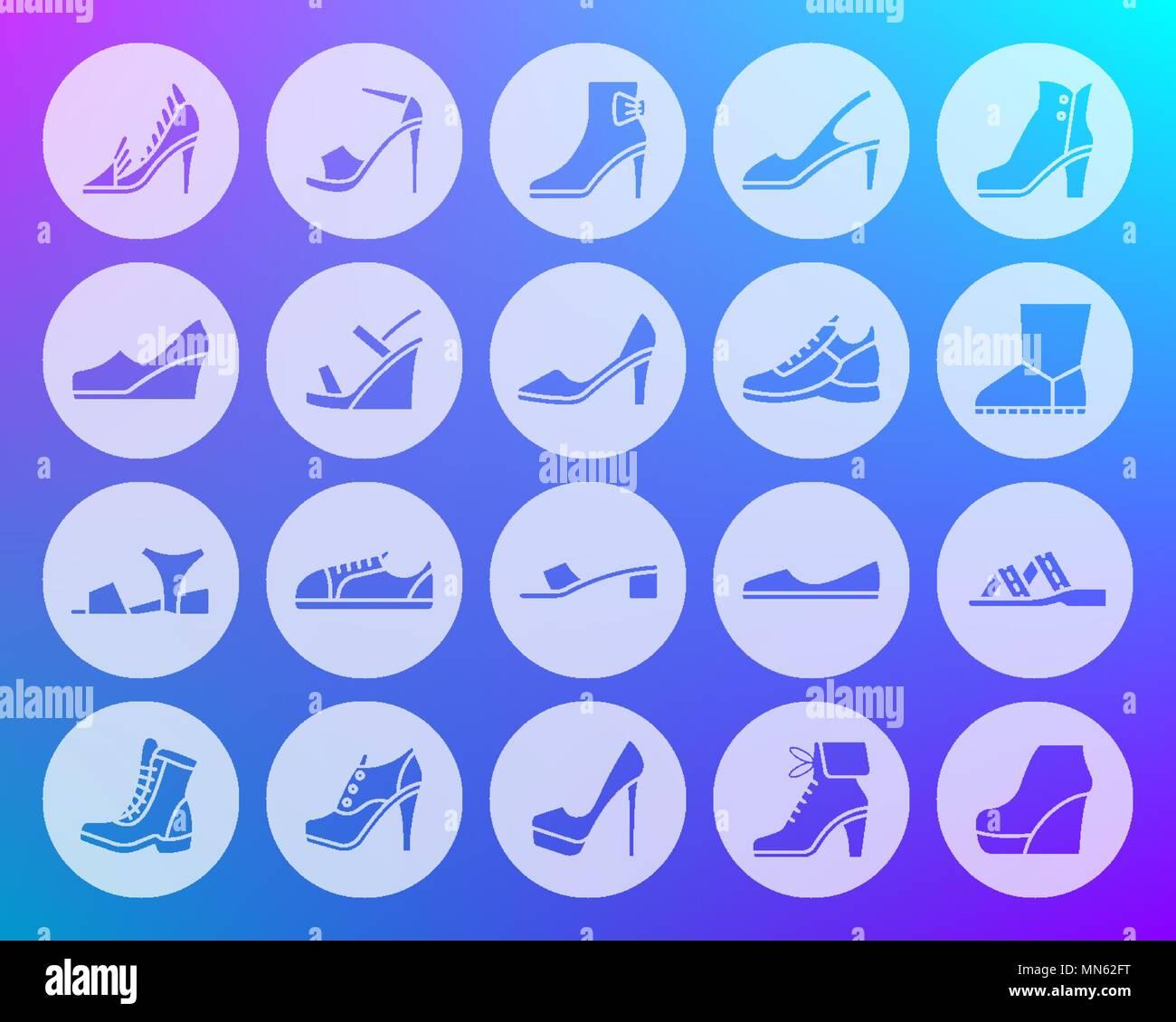 Chaussures femmes icons set. Kit de connexion Web de chaussures. Pictogramme chaussures collection comprend l'amorçage, chaussons, baskets. Vecteur simple symbole. Sculpté forme-icône Illustration de Vecteur