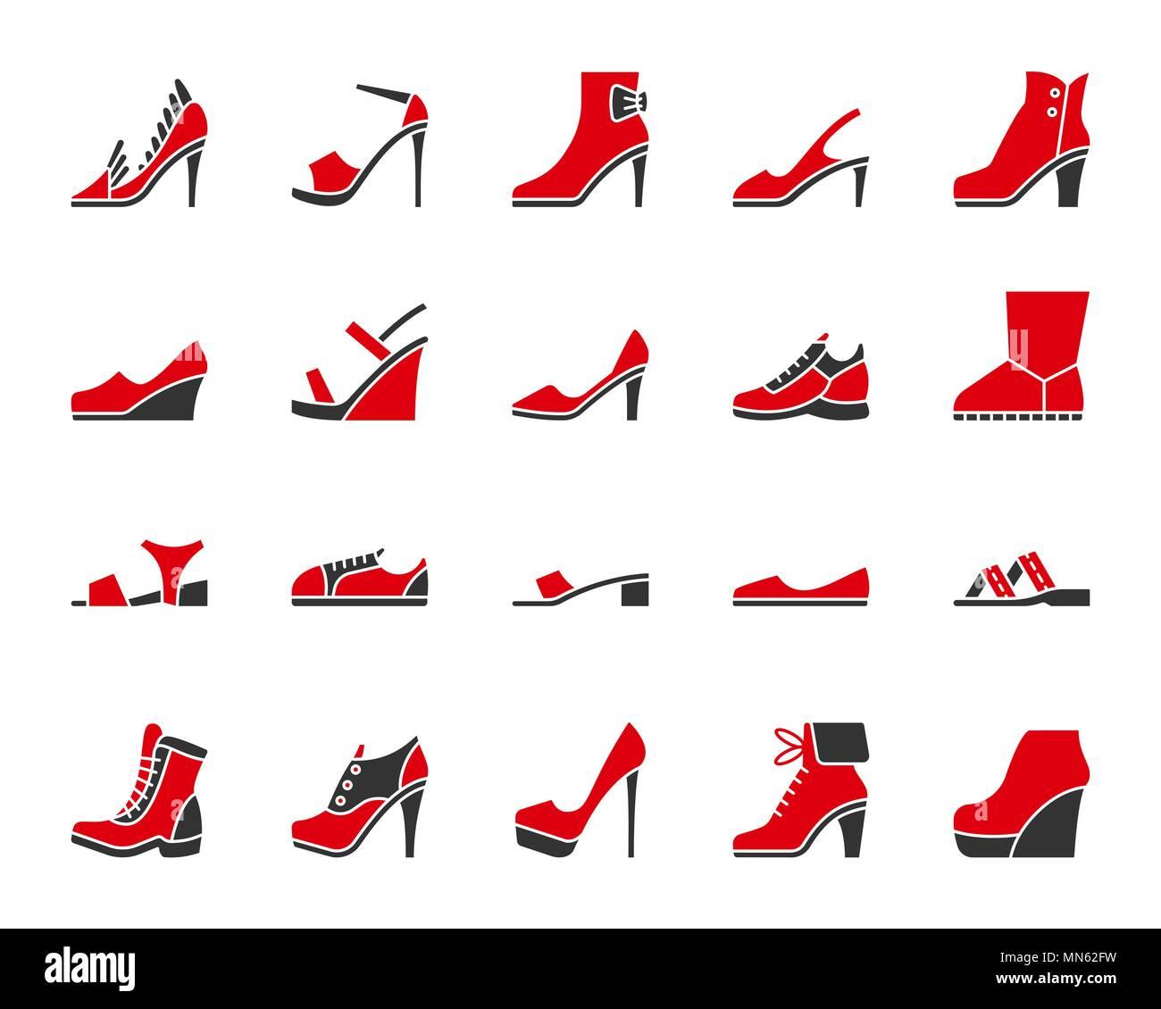Chaussures femmes silhouette icons set. Isolé sur blanc kit web sign de chaussures. Pictogramme chaussures ugg collection comprend, pompes, bateaux. Deux couleurs simples Illustration de Vecteur