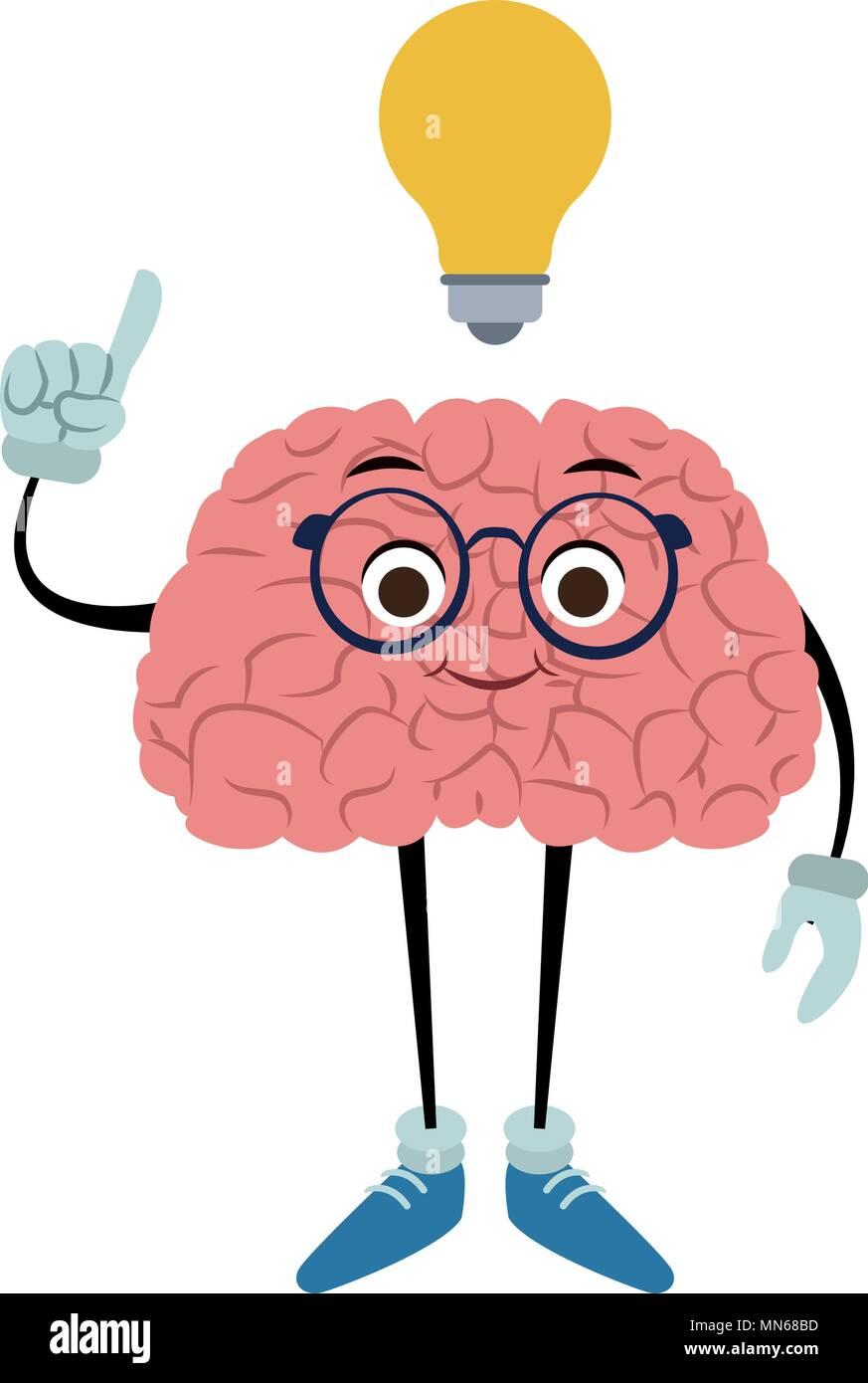 Caricature de drôles de cerveau avec l'idée Image Vectorielle Stock - Alamy