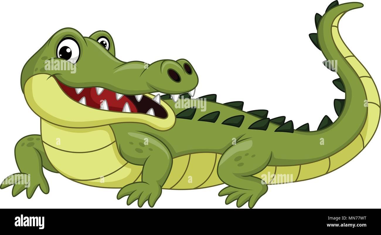 Crocodile Dessin Anime Isole Sur Fond Blanc Image Vectorielle Stock Alamy