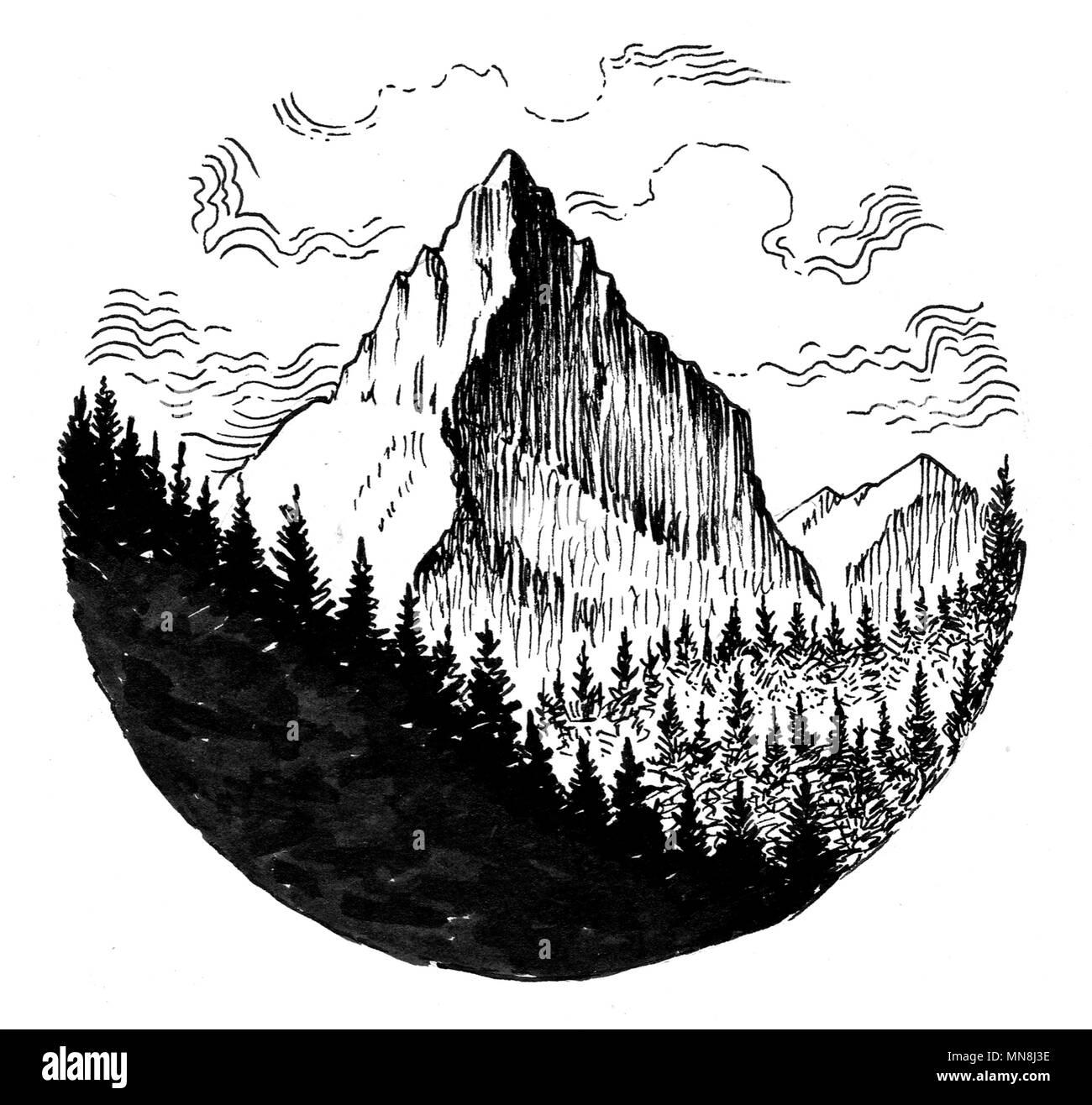haute montagne dessin noir et blanc encre banque d 39 images photo stock 185201282 alamy. Black Bedroom Furniture Sets. Home Design Ideas