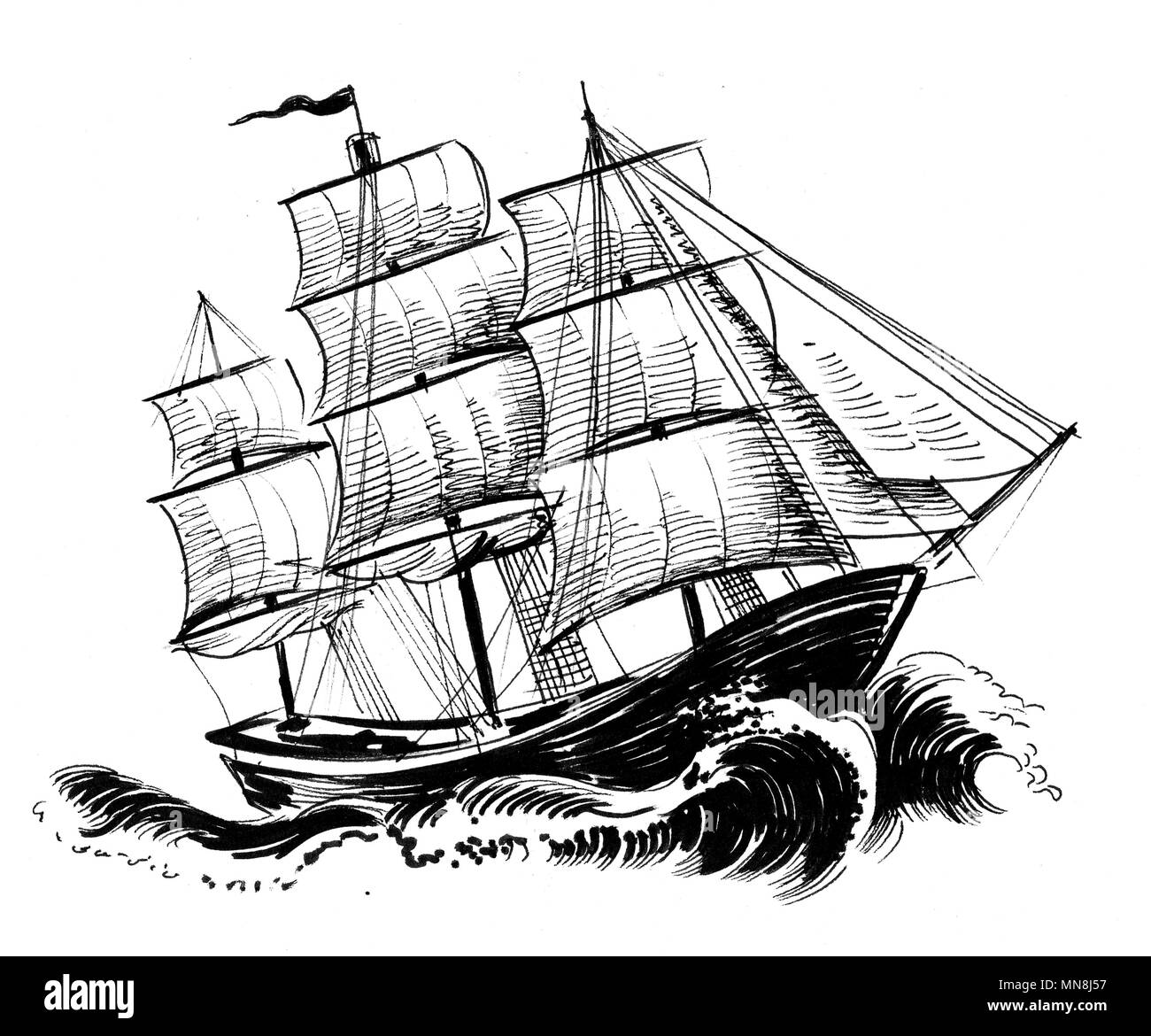 Navire A Voile En Mer Agitee Illustration Noir Et Blanc Encre