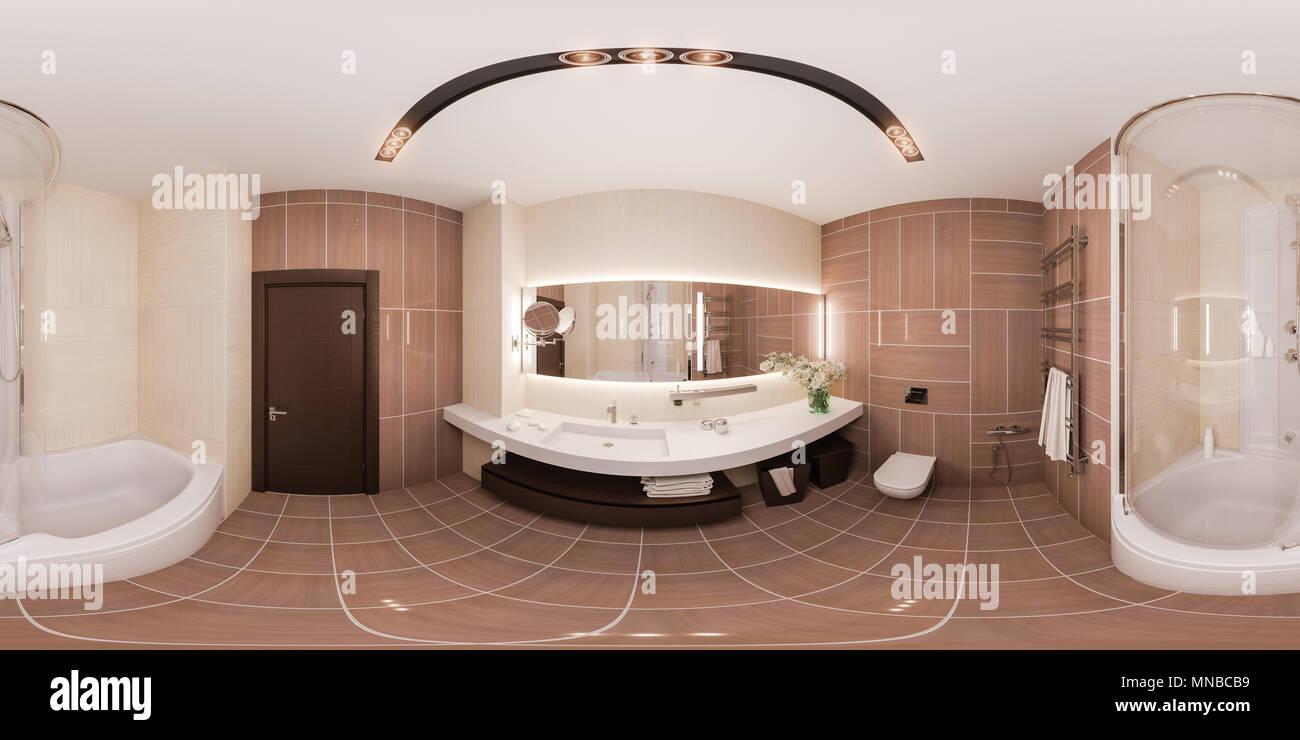 360 Degrés, Sphérique Panorama Transparente Conception Intérieure Du0027une  Salle De Bains Moderne Avec Un Grand Miroir. Illustration 3d Dans Des  Couleurs ...
