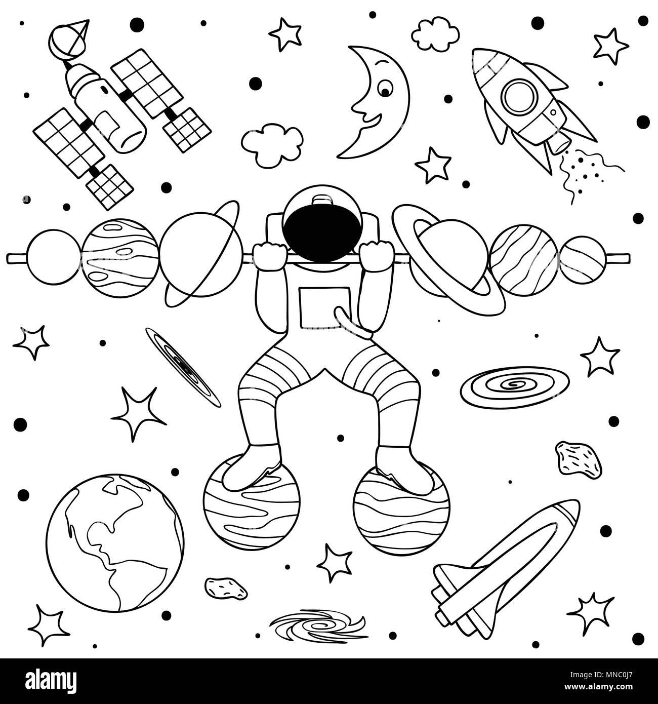 Coloriage Espace Planete.De Droles De Planetes Faisant Le Levage De Poids Dans L Espace