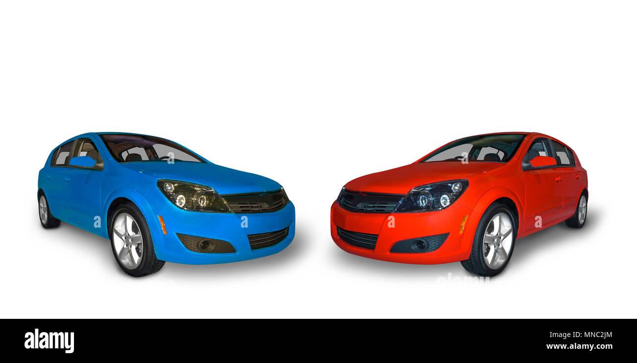 De couleur rouge et un bleu lumineux compact à quatre portes des voitures hybrides isolé sur un fond blanc. Une ombre réaliste sous la voiture est inclus. Photo Stock