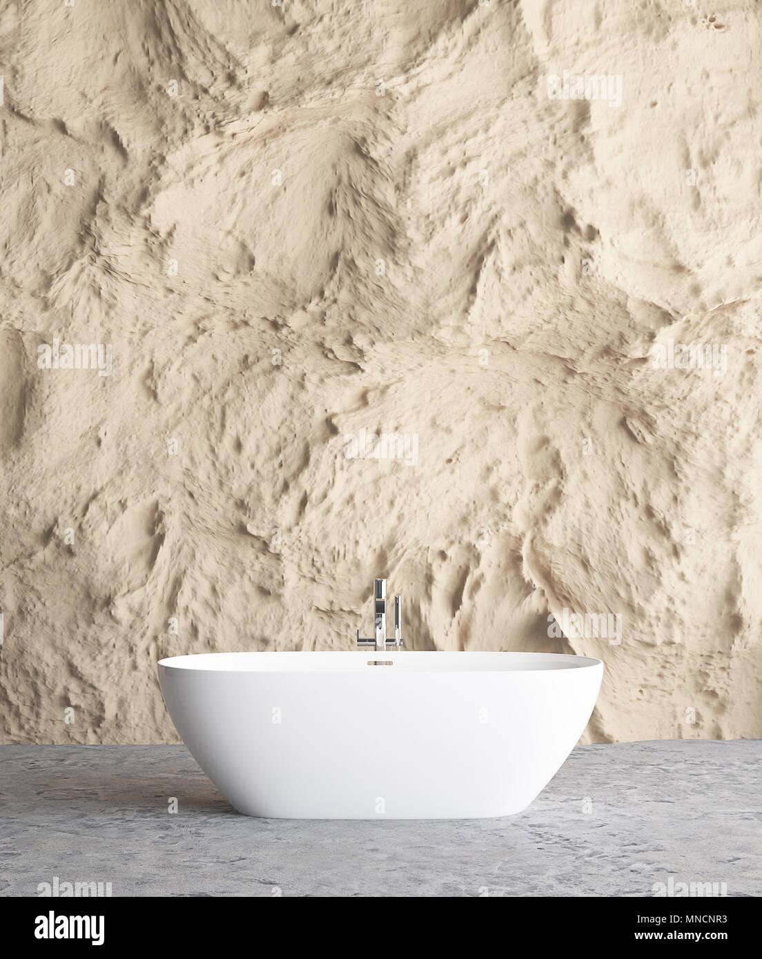 Intérieur salle de bains avec mur de pierre des maquettes 3D, l ...
