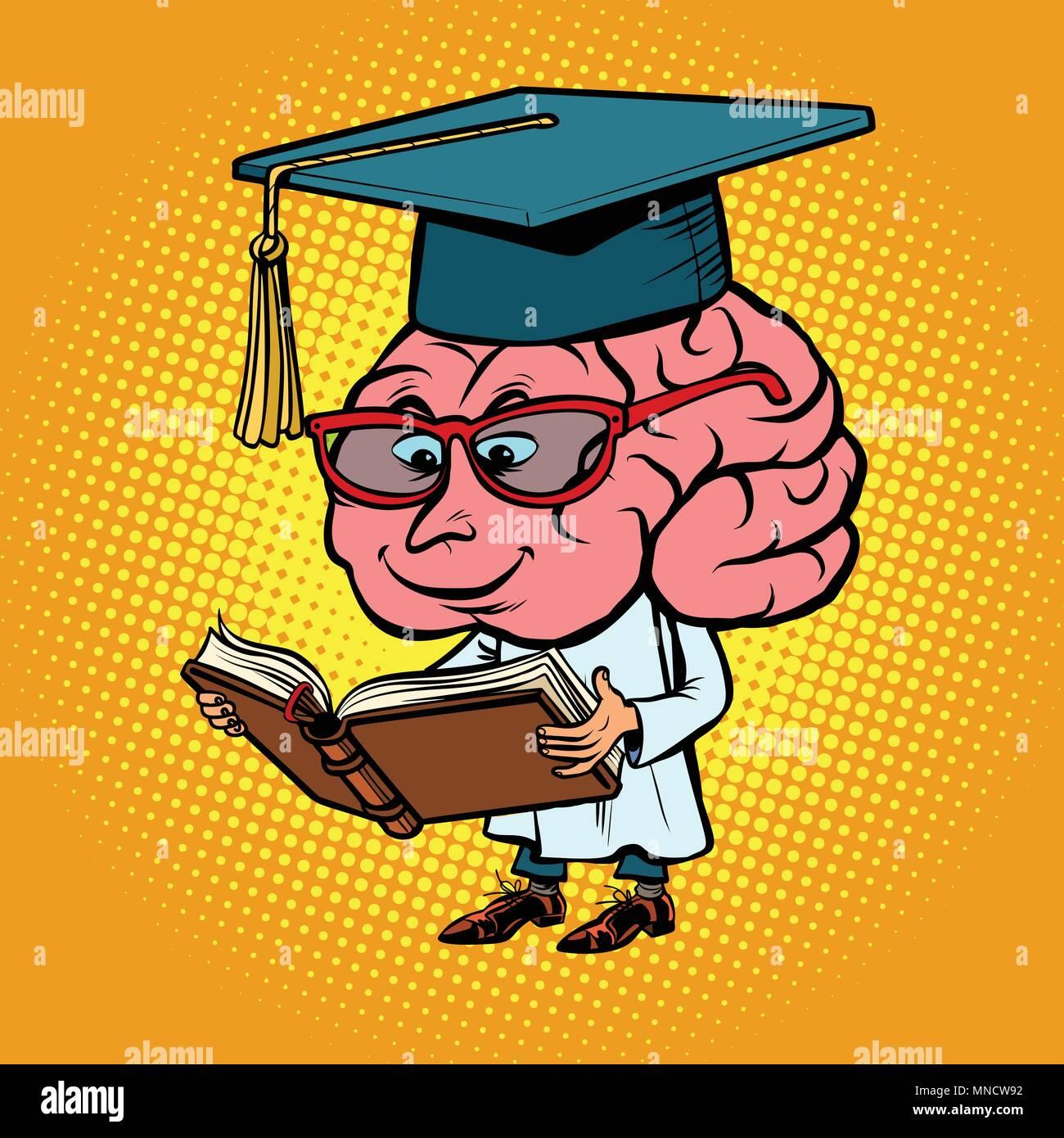Professeur de l'Université du cerveau de caractères Photo Stock