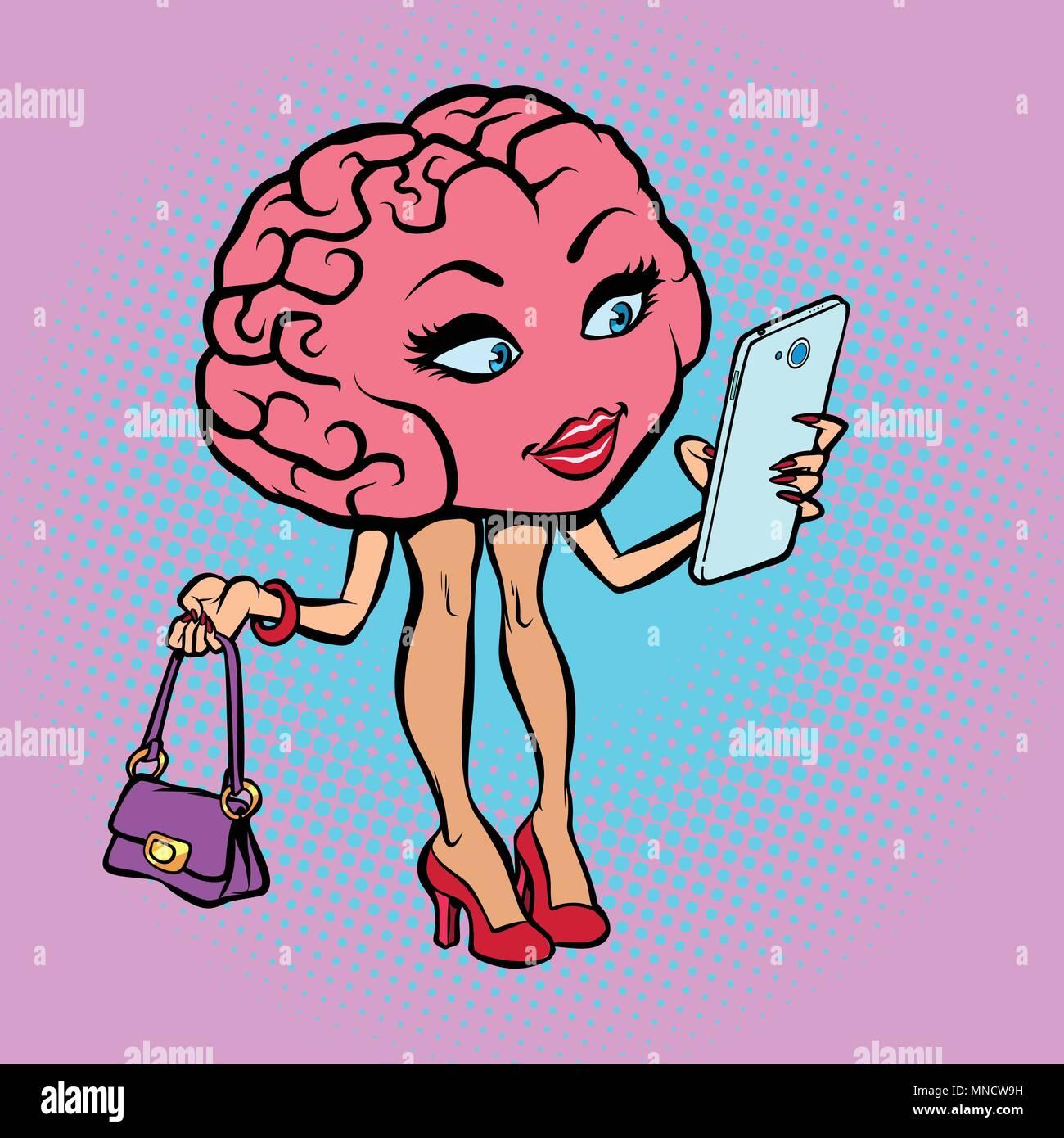 Femme avec cerveau caractère un smartphone Photo Stock